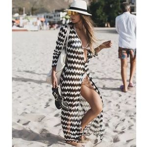 Black & White Chevron Lace Beach Dress Coverup